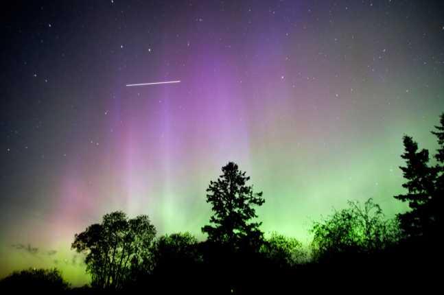 Space Station flies thru Aurora Borealis (Northern Lights) as viewed from Blackduck,  Minnesota
