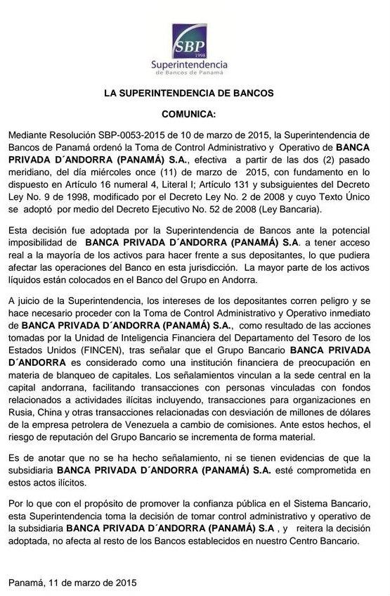 ComunicadoSuperIntendenciadeBancoPANAMÁ