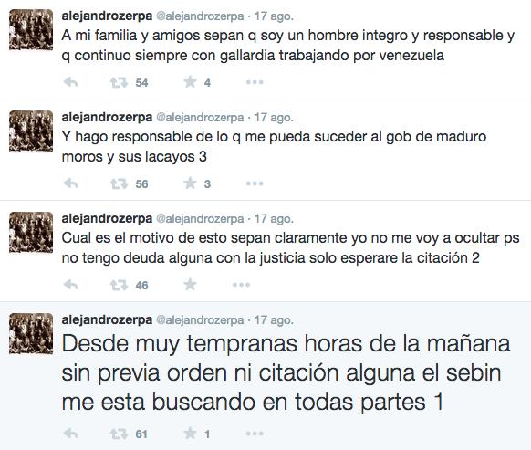 Tuits Alejandro Zerpa detenido