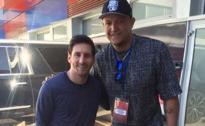 FOTOS Miguel Cabrera visitó a Messi y compañia en Barcelona