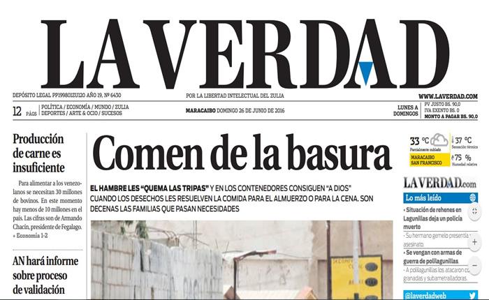 Diario <i>La Verdad</i> no circuló el domingo 26 de junio por falta de papel