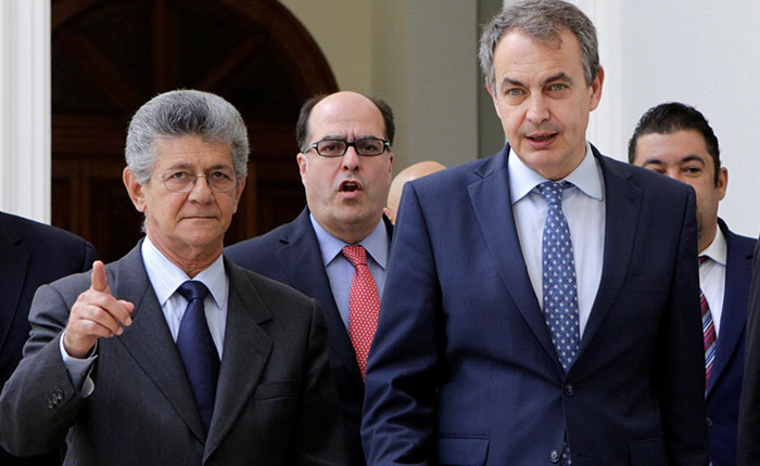 MUD se reunirá con Rodríguez Zapatero, Torrijos y representantes de Unasur