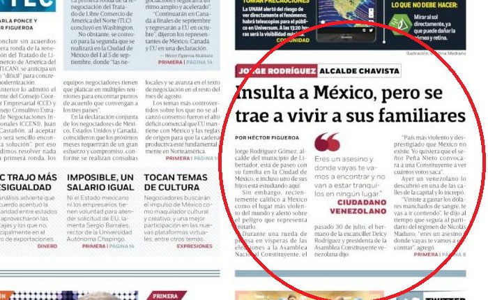 Diario Excelsior: Jorge Rodríguez insulta a México pero se trae a vivir a sus familiares