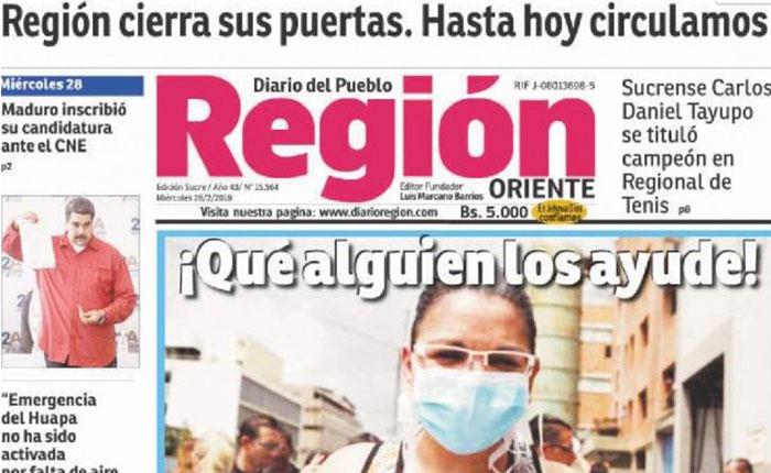 El diario Región, otro medio impreso que deja de circular por falta de papel
