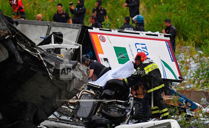 Puente colapsa en Italia: 25 personas mueren en el siniestro