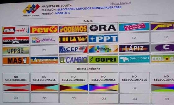 CNE publica tarjetón para elecciones municipales del 9D