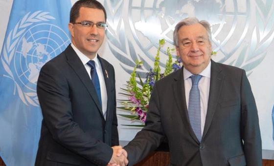 Jorge Arreaza y Antonio Guterres se reunieron para tratar la situación de Venezuela