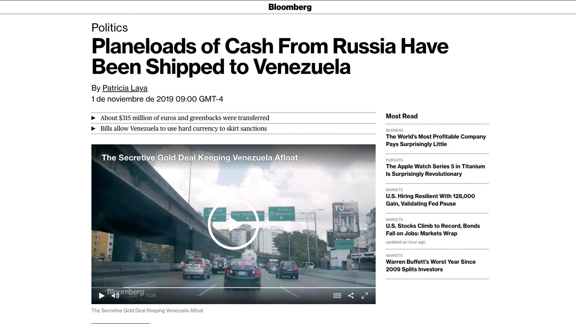 """Bloomberg confirma lo que era un rumor: Rusia envía aviones repletos de """"cash"""" al gobierno de Maduro"""