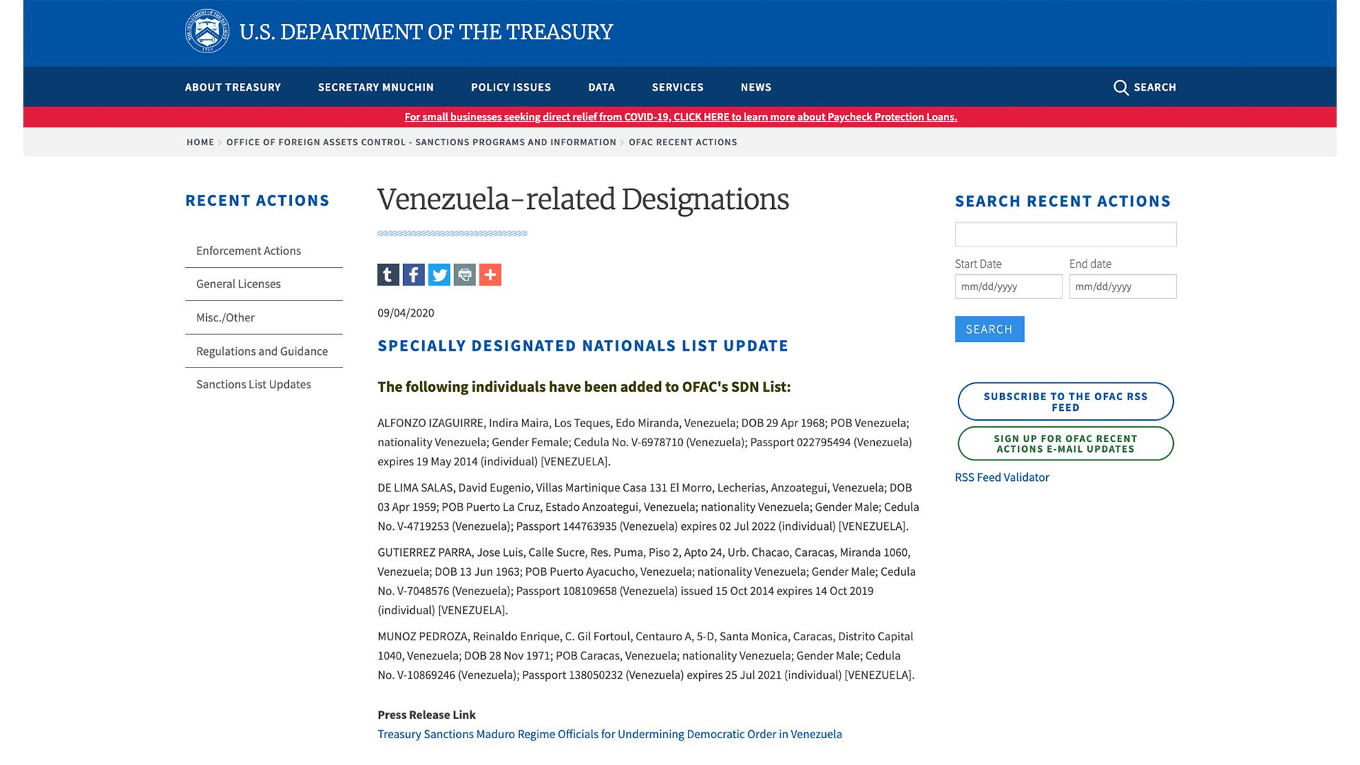Estados Unidos sanciona a cuatro venezolanos, incluidos dos funcionarios del CNE