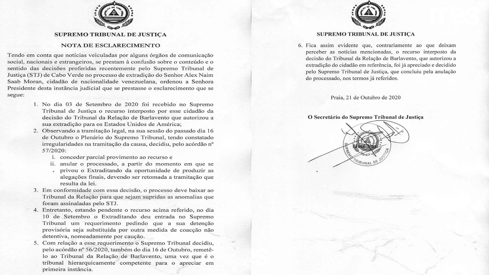 Copia del documento oficial del TSJ de Cabo Verde sobre el caso Saab